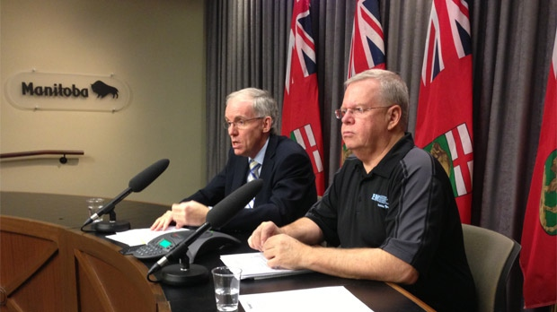 Infrastructure Minister Steve Ashton (left) says disaster aid, payouts for damaged crops and other measures are still being tallied.