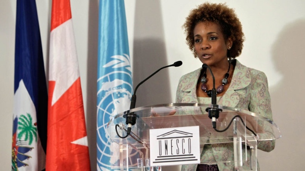Canadian former Governor General Michaelle Jean during her speech after receiving the certificate of special UNESCO envoy to Haiti, in Paris, Monday Nov. 8, 2010. (AP / Thibault Camus)