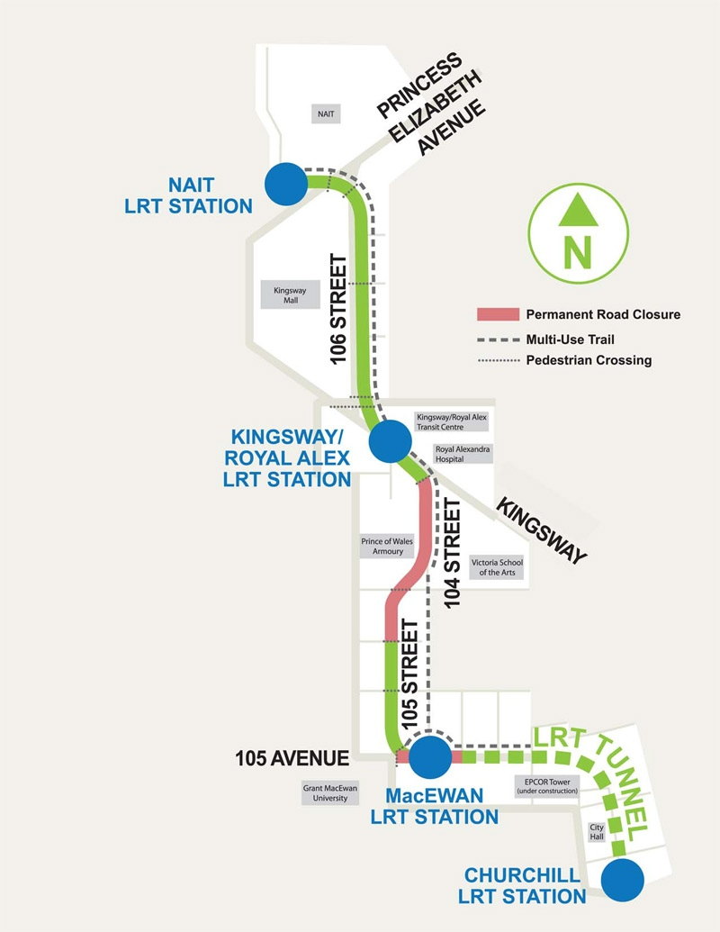 This illustration shows where the North leg of the LRT will run once it's completed. Supplied.