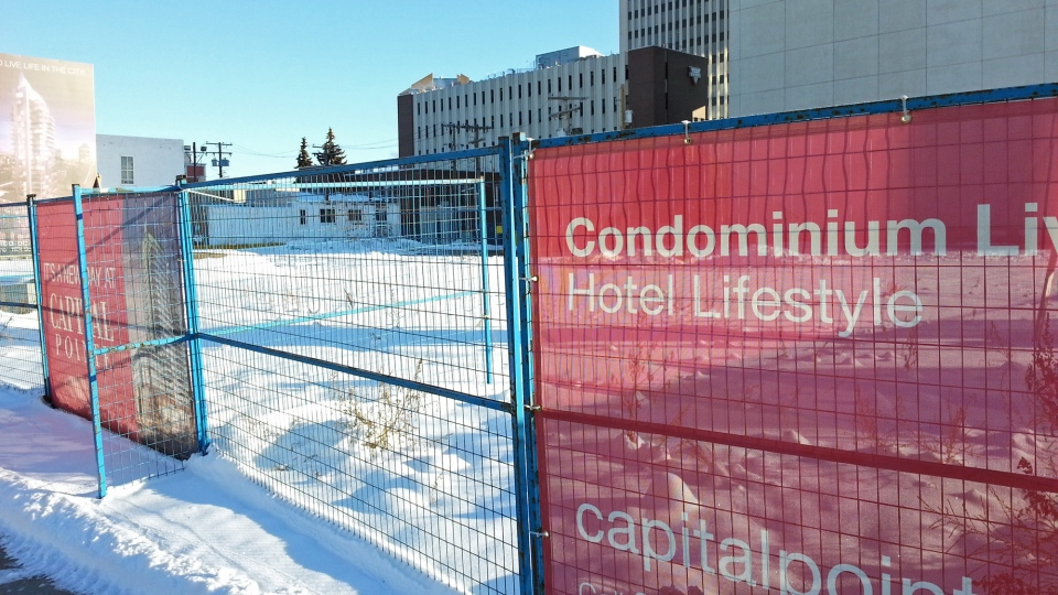 The site of the Capital Pointe project in Regina is seen in this photo taken Friday.