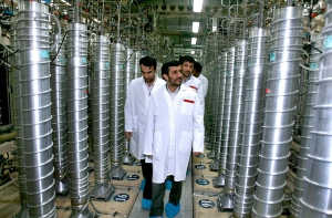 Iranian President Mahmoud Ahmadinejad, centre, visits the Natanz Uranium Enrichment Facility some 322 km south of the capital Tehran, on April 8, 2008. (Iranian President's Office)