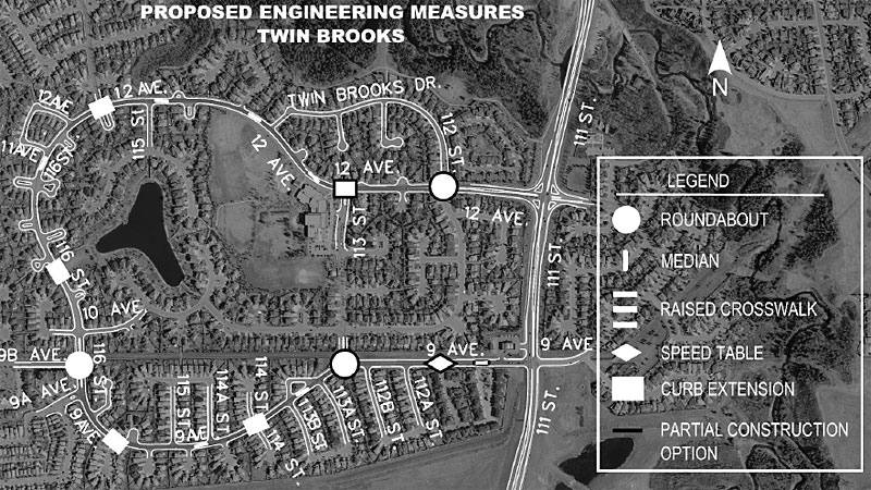 Proposed road modifications to Twin Brooks include adding traffic circles (roundabouts), medians, raised crosswalks, speed tables and curb extensions.