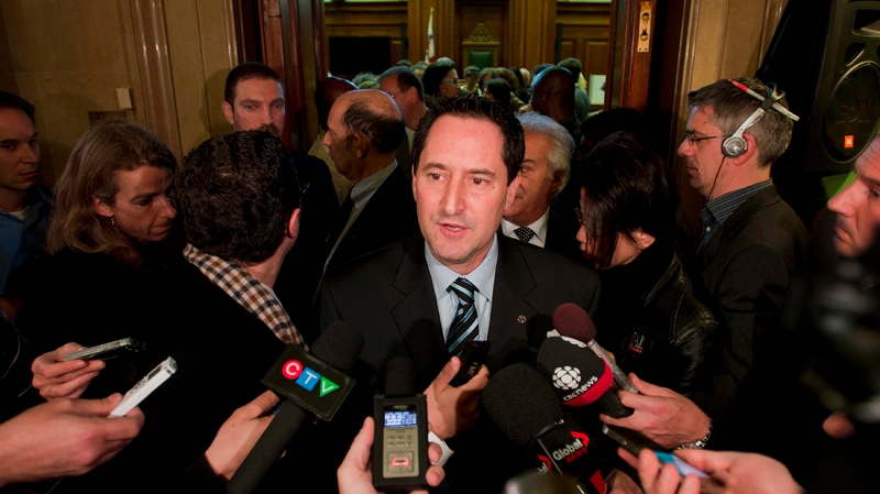 Michael Applebaum speaks to reporters in Montreal Friday, November 16, 2012 after he was elected interim mayor of Montreal. THE CANADIAN PRESS/Graham Hughes.
