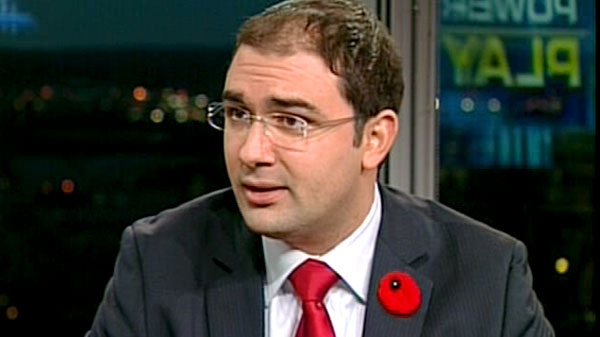 Dimitri Soudas, the director of communication to Stephen Harper, appears on CTV's Power Play in Ottawa, Monday, Nov. 8, 2010.