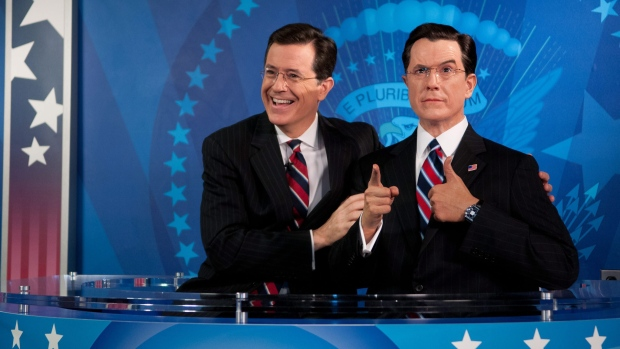 Stephen Colbert unveils wax statue
