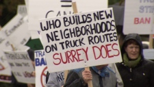 Diesel truck protest