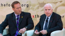 MacKay and McCain in Halifax on Nov. 17, 2012.