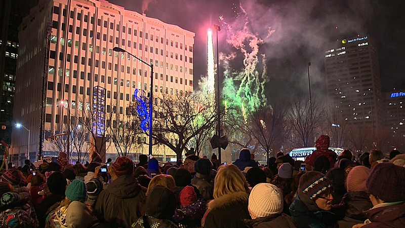 Edmontonians were treated to a choreographed fireworks show during the annual Christmas on the Square Holiday Light Up event Saturday night.