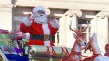 Santa arrives at the Santa Claus Parade