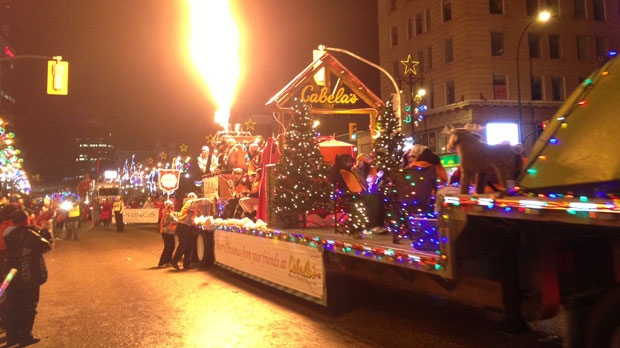 A float shoots flames into the sky as part of the 2012 Santa Claus Parade in Winnipeg on Nov. 17.
