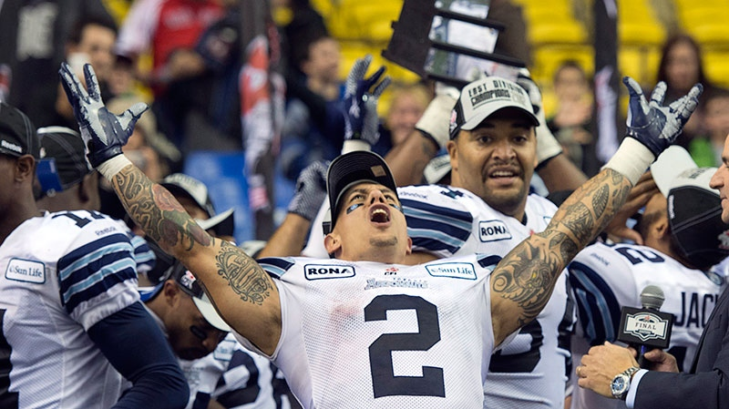 Toronto Argonauts Chad Owens celebrates after defeating the Montreal Alouettes 27-20 in the Canadian Football League Eastern final action Sunday, Nov. 18, 2012 in Montreal. (Ryan Remiorz / THE CANADIAN PRESS)