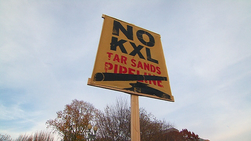 A sign opposing the Keystone XL pipeline project is seen during a rally in front of the White House on Nov. 18, 2012.