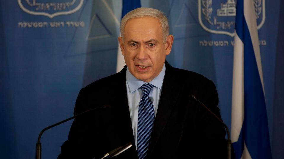 Israel's Prime Minister Benjamin Netanyahu delivers a statement to the media at Hakirya a military base in Tel Aviv, Israel, Wednesday, Nov. 14, 2012. (AP / Ariel Schalit)