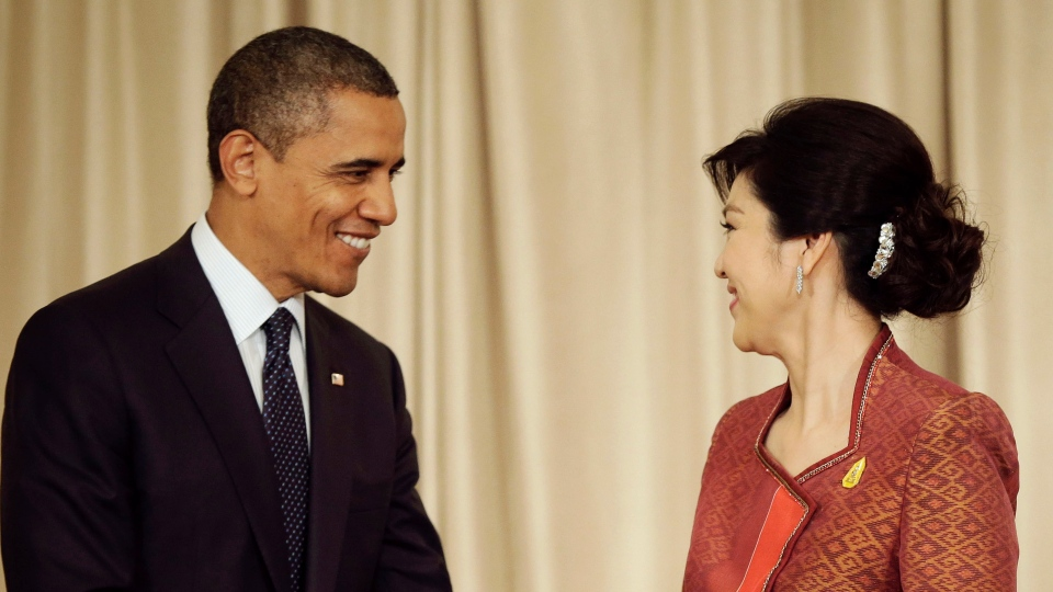 U.S. President Barack Obama and Thai Prime Minister Yingluck Shinawatra smile at a joint news conference in Bangkok, Thailand, Sunday, Nov. 18, 2012. (AP / Pablo Martinez Monsivais)