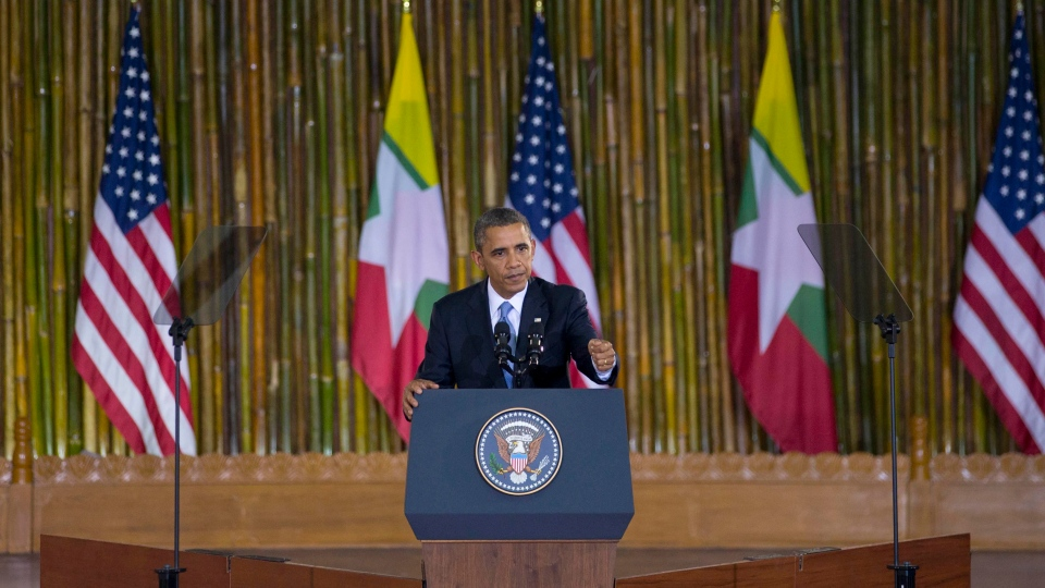U.S. President Barack Obama delivers a speech at University of Yangon's convocation hall, in Yangon, Myanmar, Monday, Nov 19, 2012. (AP / Gemunu Amarasinghe)