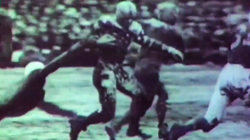 An image from video of the 'Mud Bowl' at Toronto's Varsity Stadium on Nov. 25, 1950.