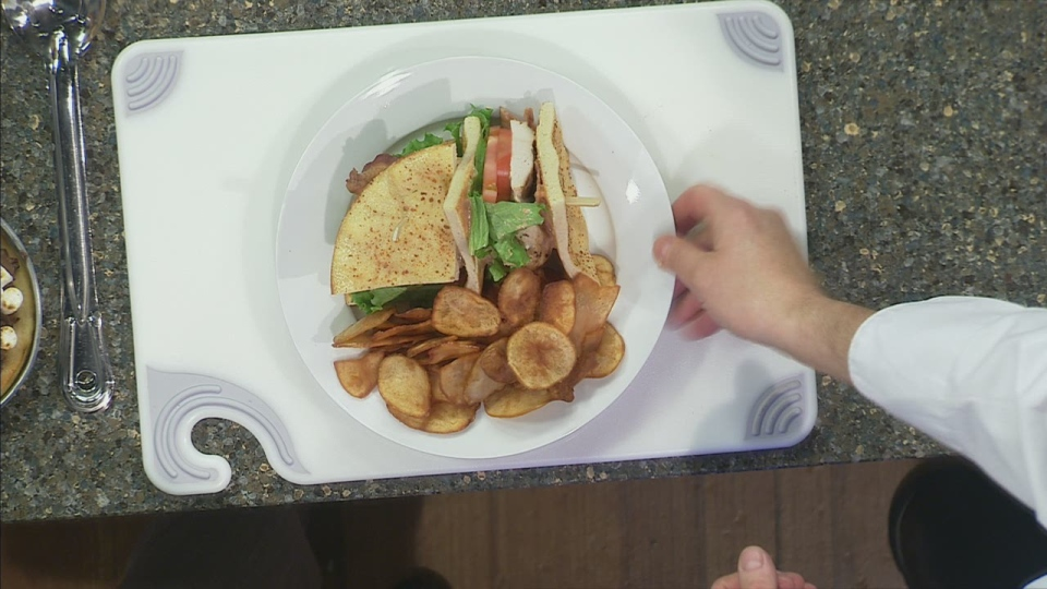 Chef Michael Gray used pizza dough in place of traditional bread to create a Chipolte Chicken Club Sandwich on CTV's Canada AM on Nov. 19, 2012.