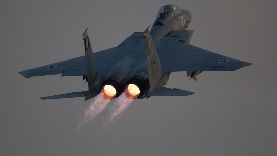 An Israeli air force F-15 Eagle jet fighter plane takes off from Tel Nof air force base for a mission over Gaza Strip in central Israel, Monday, Nov. 19, 2012. (AP / Ariel Schalit)