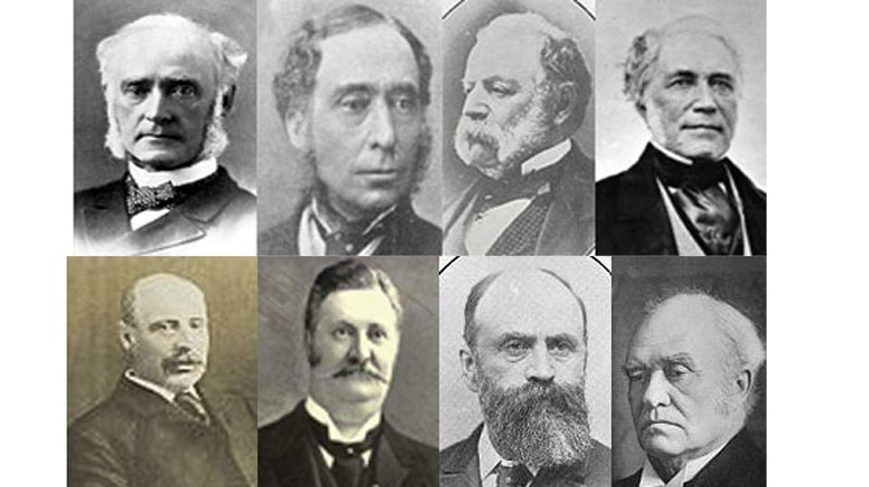 Some of Montreal's English speaking mayors from the past include (clockwise from top left) Sir William Hingston (1875-1877), Henry Starnes (1856-1858), Charles Wilson (1851-1854), Peter McGill (1840-1842), Sir John Abbott (1887-1888), James McShane (1891-1893), Richard Wilson-Smith (1896-1898) Henry Archer Ekers (1906-1908).