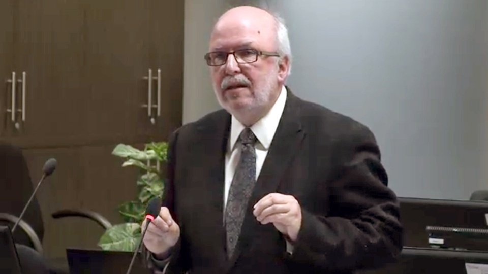 Marc Labelle, lawyer for Raynald Desjardins pleads before the Charbonneau Commission on Monday, Nov. 19, 2012. (CEOGCPIC handout / THE CANADIAN PRESS)
