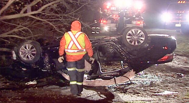This Honda Accord went off the road, hit a tree and came to rest in a schoolyard Sunday, Nov. 18, 2012.