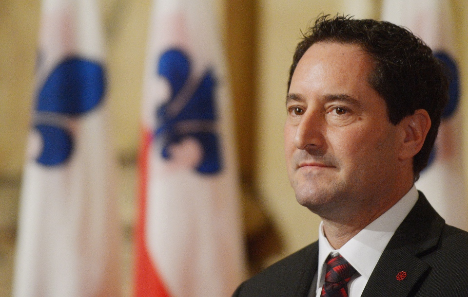 Michael Applebaum looks on during a ceremony in Montreal, Monday, Nov. 19, 2012. (Graham Hughes / THE CANADIAN PRESS)