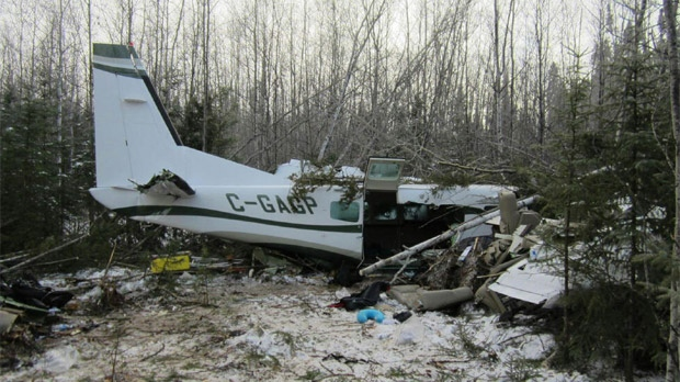 Just after 10 a.m. on Nov. 18, 2012, 911 dispatchers got a call from a man who was on board the Cessna 208 when it crashed east of Snow Lake, Man. (image courtesy RCMP)