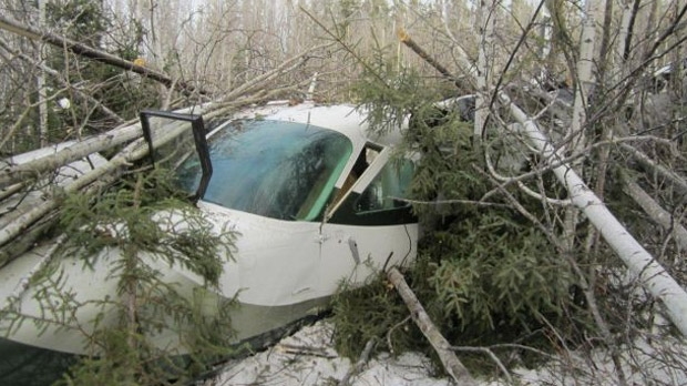 The Transportation Safety Board is now investigating the cause of the crash on Nov. 18 near Snow Lake, Man. (image courtesy TSB)