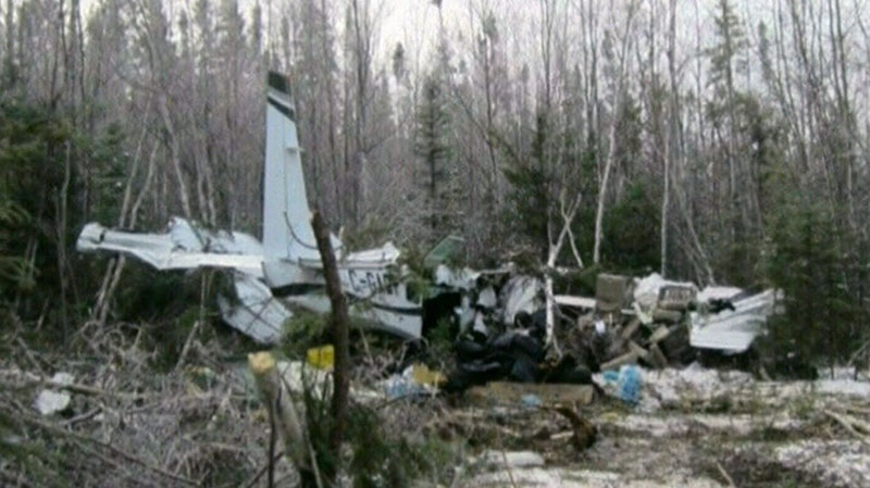 A Cessna 208 aircraft crashed, killing its pilot and injuring seven, in Snow Lake, Manitoba, on Sunday, Nov. 18, 2012.