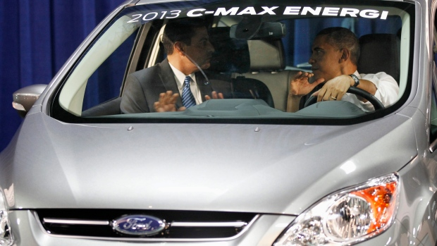 Obama in a Ford C-Max HEV Energi on Jan. 31, 2012.
