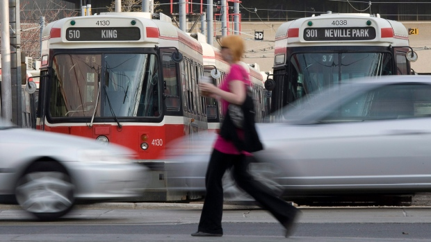 Streetcars in Toronto in April
