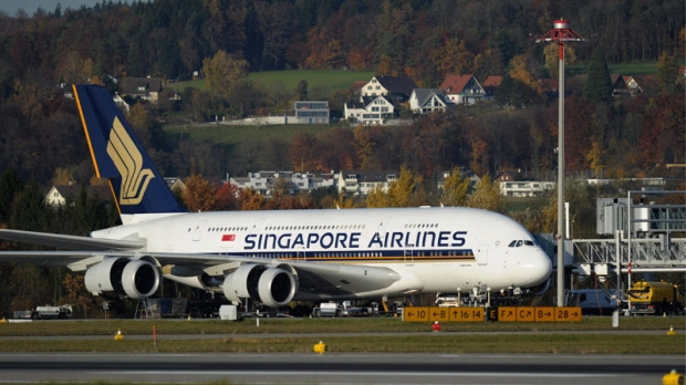 A Singapore Airlines Airbus A-380 has its engine checked, at the Airport Zuerich, in Switzerland, in this Nov. 4, 2010 file photo. (AP / Keystone, Steffen Schmidt, File)