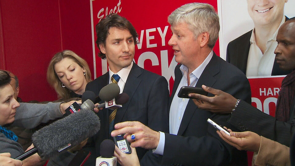 Justin Trudeau and Harvey Locke speak to the media in a press conference in Calgary, Tuesday, Nov. 20, 2012.
