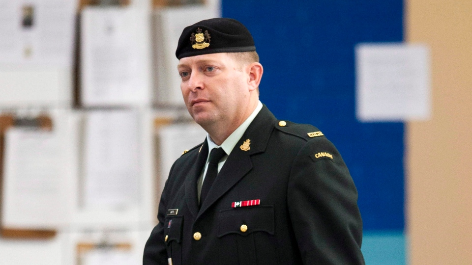 Maj. Darryl Watts arrives for court martial proceedings in Calgary, Alberta on Wednesday, Nov. 14, 2012. (Larry MacDougal / THE CANADIAN PRESS)