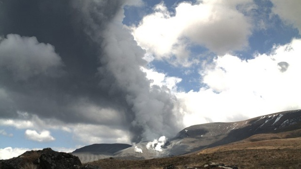 Smoke billows from Te Maari crater Mount Tongariro