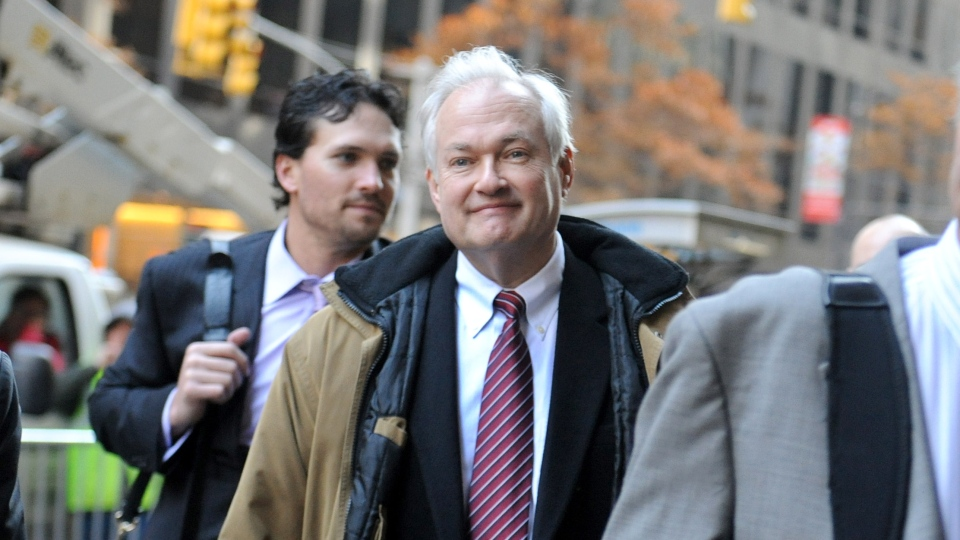 NHL Players' Association executive director Donald Fehr arrives for labour talks at NHL headquarters in New York. (AP Photo/ Louis Lanzano)