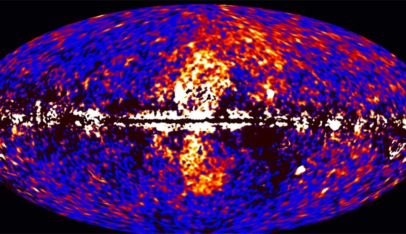 A giant gamma-ray structure was discovered by processing Fermi all-sky data at energies from 1 to 10 billion electron volts, shown here.