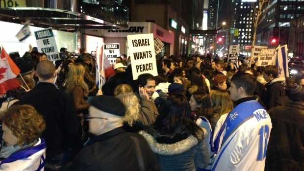 Israel supporters rally outside Israeli consulate