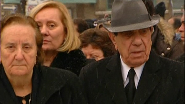 Nicolo Rizzuto and his wife attend the funeral for their grandson, Nick Jr., who was killed in December 2009.
