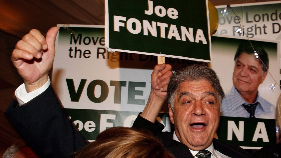 Mayoral candidate Joe Fontana reacts to election results during the municipal election in London, Ont., on October 25, 2010.  (Dave Chidley / THE CANADIAN PRESS)