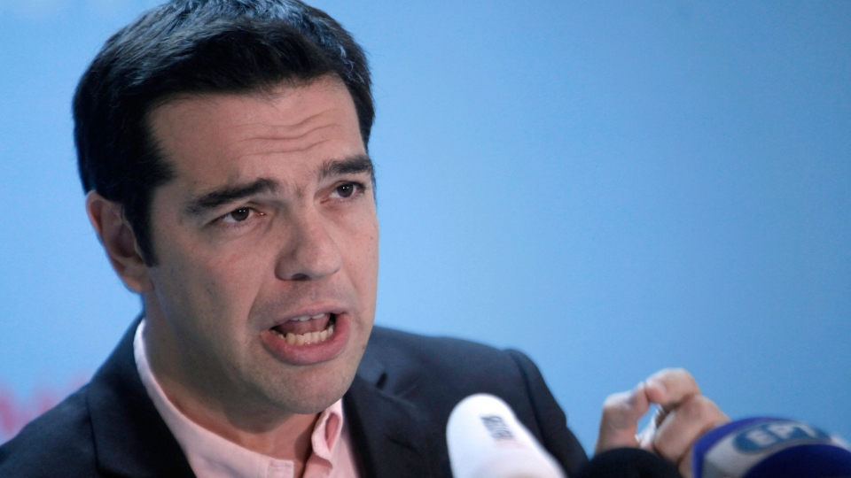 Greek leftwing opposition leader Alexis Tsipras comments on European finance ministers failure to approve a new loan installment for Greece, during a televised statement in Athens, on Wednesday, Nov. 21, 2012.  (AP / Petros Giannakouris)