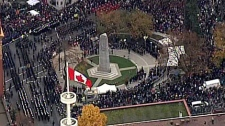 Huge crowds gathered in Vancouver's Victory Square to mark Remembrance Day. Nov. 11, 2010. (CTV)
