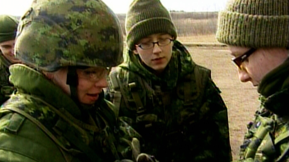 Canadian reservists prepare for a training exercise at Canadian Forces Base Wainwright in Denwood, Alberta.