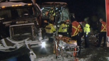 Multi-vehicle crash B.C. truck collision bus