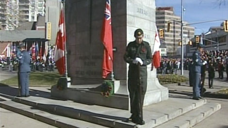 Veterans and the public gather for Remembrance Day ceremonies at the cenotaph in Kitchener, Thursday, Nov. 11, 2010.