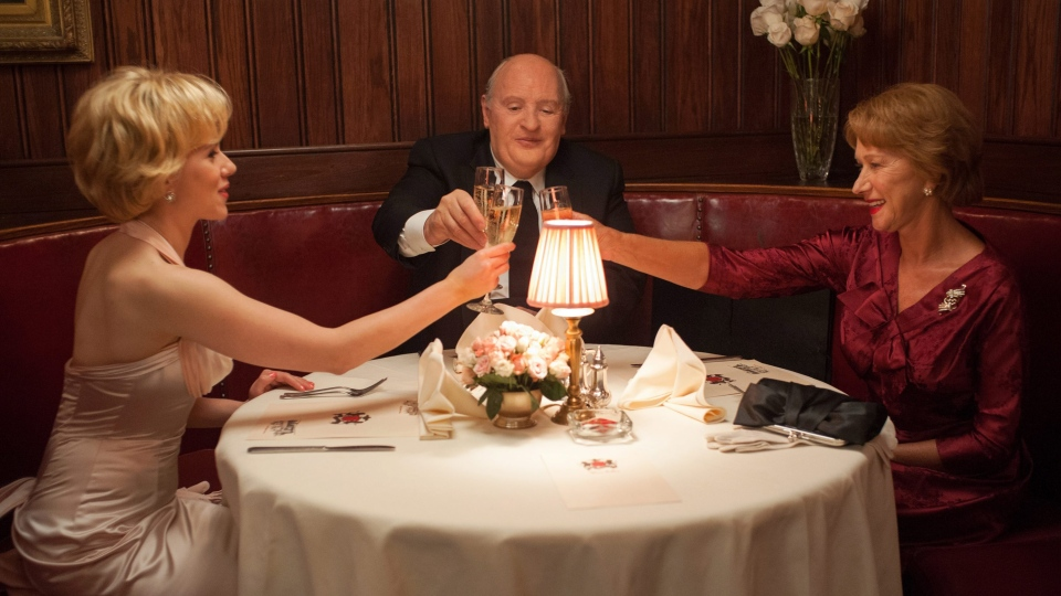 Scarlett Johansson as Janet Leigh, left, Anthony Hopkins as Alfred Hitchcock, center, and Helen Mirren as Alma Reville in Fox Searchlight Pictures' 'Hitchcock'