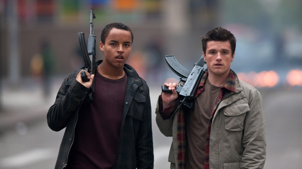 Connor Cruise, left, and Josh Hutcherson in a scene from Alliance Films' 'Red Dawn'