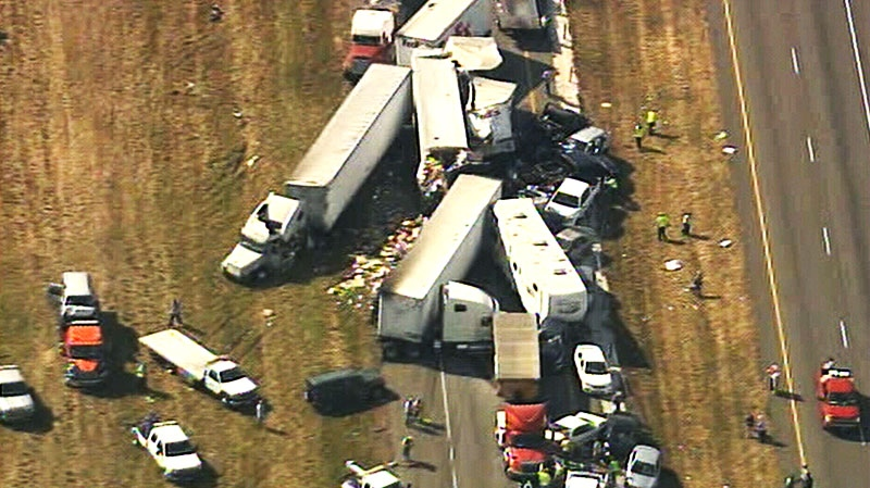 Emergency crews respond to a massive 50-car pileup in Southeast Texas, Thursday, Nov. 22, 2012.