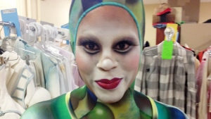 It took two hours for Zarkana makeup designer  Eleni Uranis to transform Marci into a Cirque du Soleil acrobat. She looks the part, but can she play the part? Find out on Canada AM Tuesday. (Trish Bradley/Canada AM)