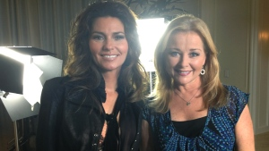 Shania Twain and Beverly Thomson pose for a photo after an interview with Canada AM in Las Vegas.